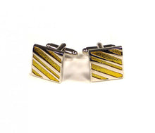 Load image into Gallery viewer, Yellow Diagonal Stripe Cufflinks