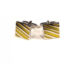 Yellow Diagonal Stripe Cufflinks