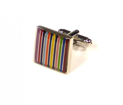 Rainbow Stripe Cufflinks (Premium High Quality Business / Wedding Accessories by Focus Ties)