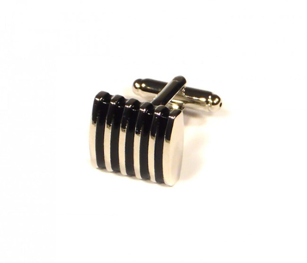 Black Thin Stripes Cufflinks (Premium High Quality Business / Wedding Accessories by Focus Ties)