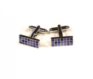Purple Rectangle Grid Cufflinks