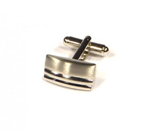 Load image into Gallery viewer, Rectangle Two Stripe Cufflinks (Premium High Quality Business / Wedding Accessories by Focus Ties)
