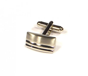 Rectangle Two Stripe Cufflinks (Premium High Quality Business / Wedding Accessories by Focus Ties)