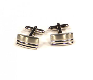 Rectangle Two Stripe Cufflinks