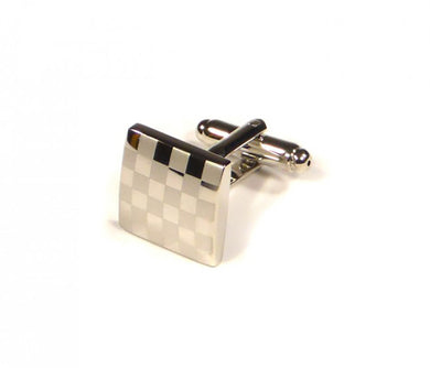 Silver Two Tone Checker Plate Cufflinks (Premium High Quality Business / Wedding Accessories by Focus Ties)