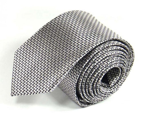 Silver Woven Silk Tie by Focus Ties (The Andromeda - Premium High Quality Silk Business / Wedding Necktie)