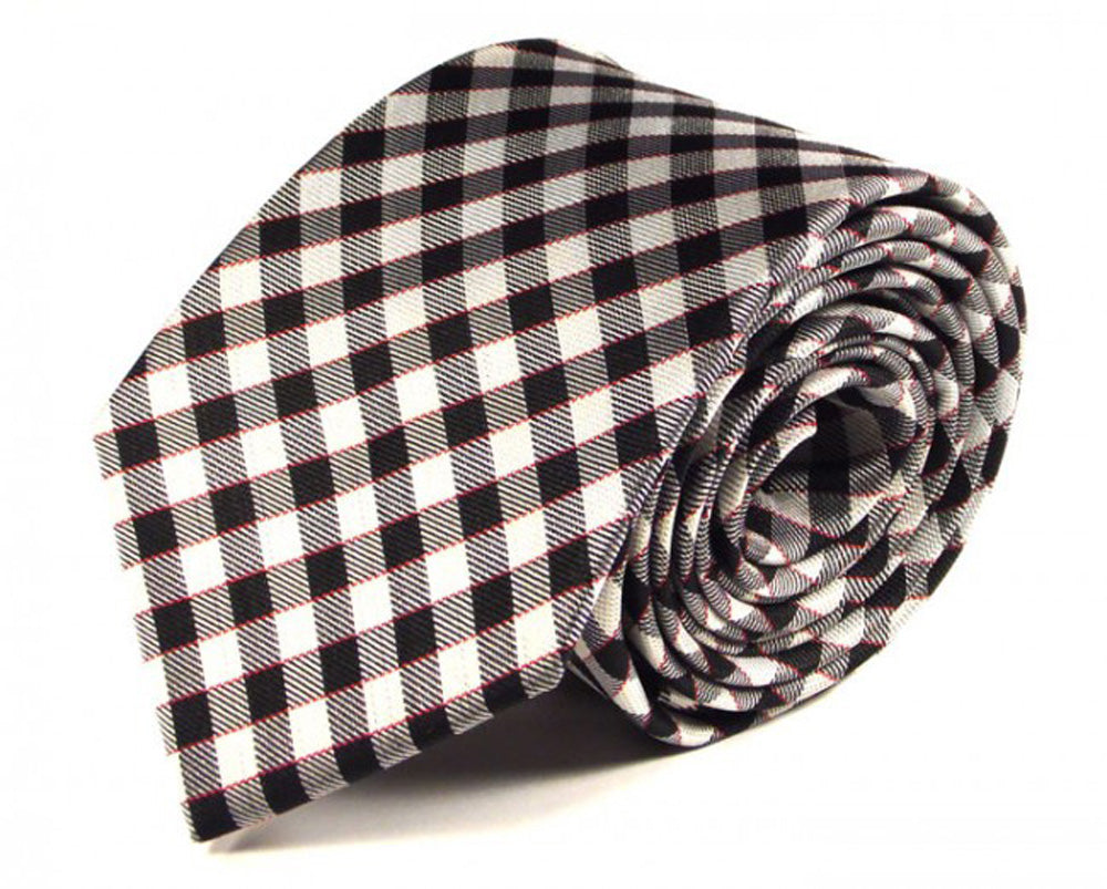 Black Striped, Woven Silk Tie by Focus Ties (The Poas - Premium High Quality Silk Business / Wedding Necktie)