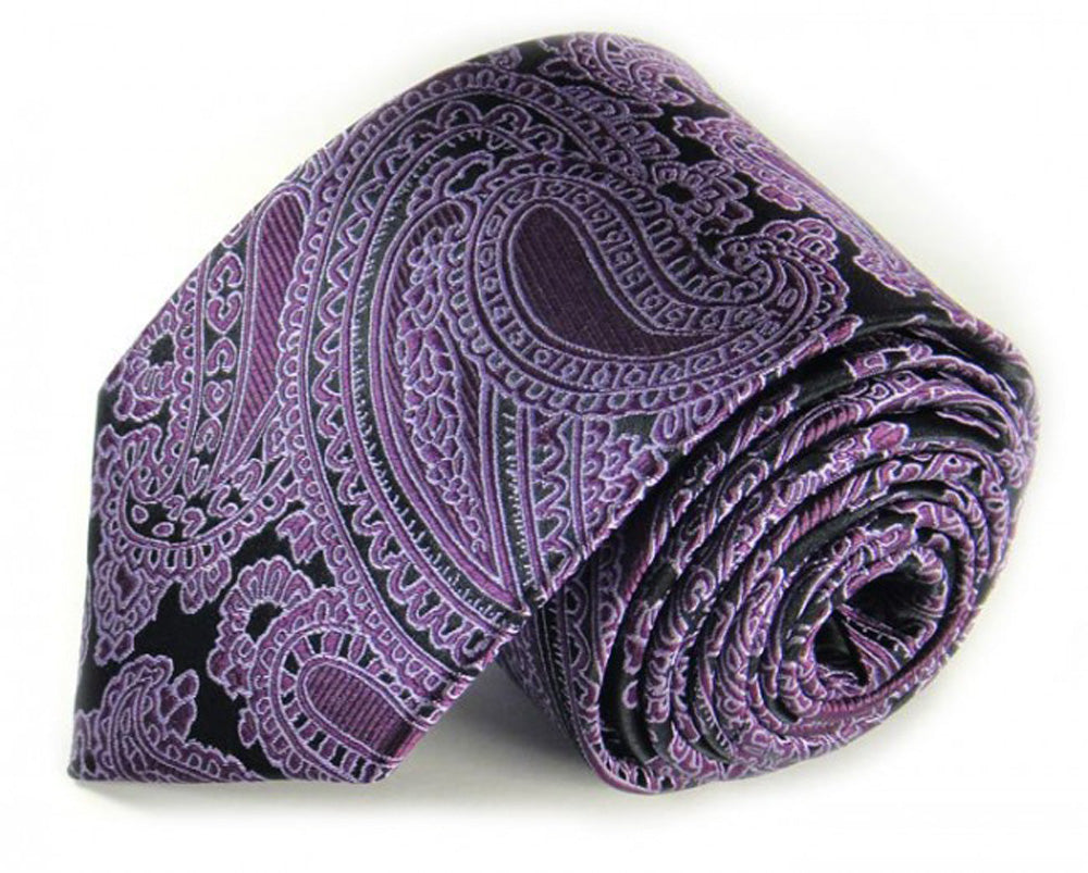 Black Paisley Silk Tie by Focus Ties (The Medusa - Premium High Quality Silk Business / Wedding Necktie)