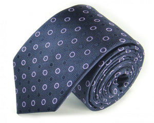 Blue Dotted Silk Tie by Focus Ties (The Mekong - Premium High Quality Silk Business / Wedding Necktie)