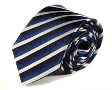 Load image into Gallery viewer, Blue Striped Silk Tie by Focus Ties (The Mojanda - Premium High Quality Silk Business / Wedding Necktie)