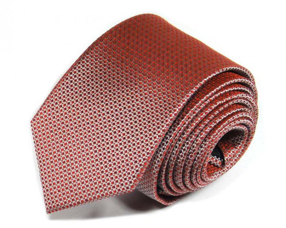 Red Woven Silk Tie by Focus Ties (The Makalu - Premium High Quality Silk Business / Wedding Necktie)