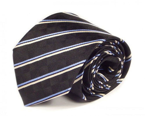 Black Striped Silk Tie by Focus Ties (The Spica - Premium High Quality Silk Business / Wedding Necktie)