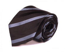 Load image into Gallery viewer, Black Striped Silk Tie by Focus Ties (The Mintaka - Premium High Quality Silk Business / Wedding Necktie)