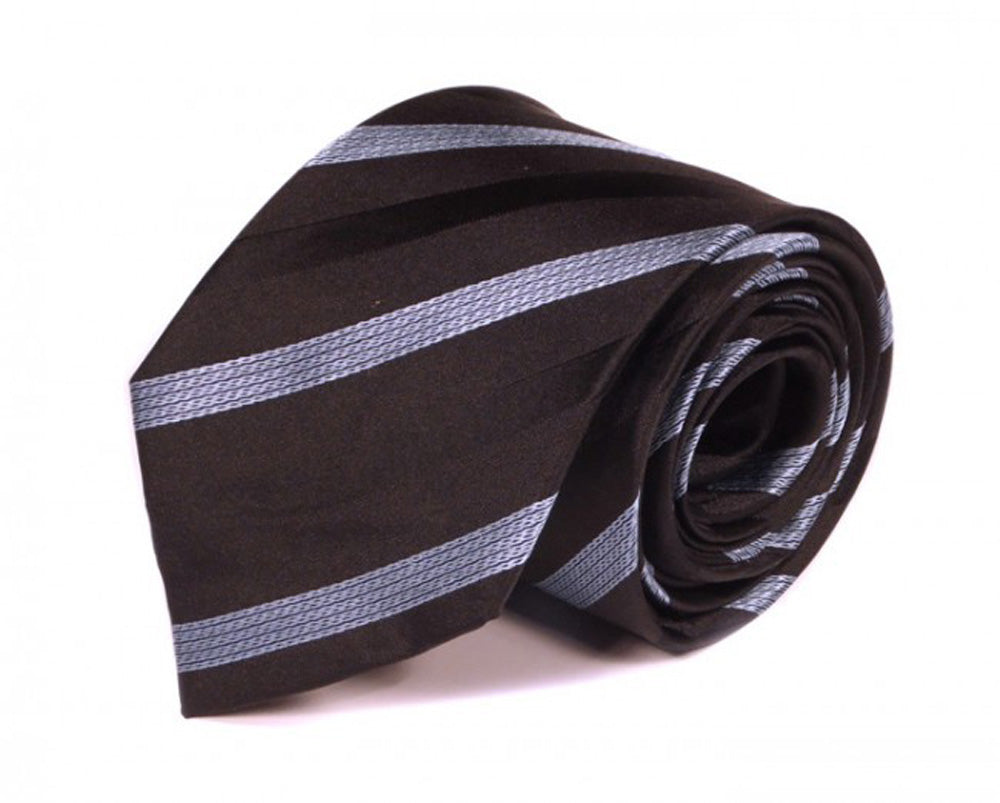 Black Striped Silk Tie by Focus Ties (The Mintaka - Premium High Quality Silk Business / Wedding Necktie)