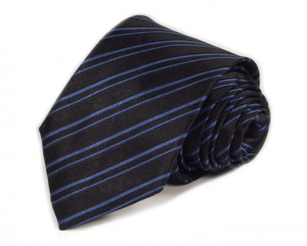 Black Striped Silk Tie by Focus Ties (The Cayman - Premium High Quality Silk Business / Wedding Necktie)