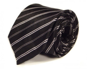 Black Striped Silk Tie by Focus Ties (The Waimea - Premium High Quality Silk Business / Wedding Necktie)