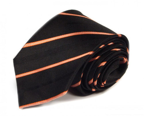 Black Striped Silk Tie by Focus Ties (The Barranca - Premium High Quality Silk Business / Wedding Necktie)