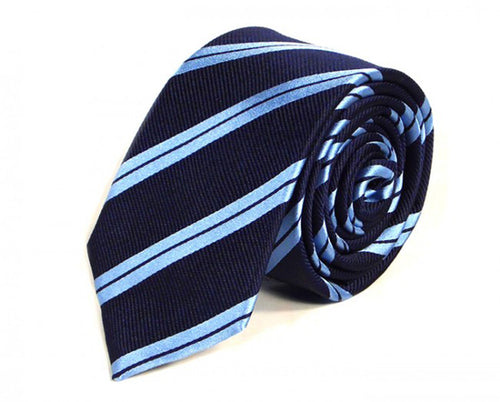 Blue Striped Silk Tie by Focus Ties (The Brooklands - Premium High Quality Silk Business / Wedding Necktie)