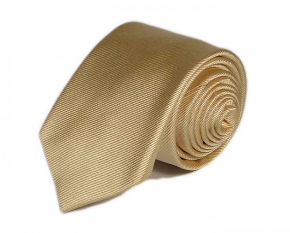 Gold Solid Silk Tie by Focus Ties (The Skyline - Premium High Quality Silk Business / Wedding Necktie)