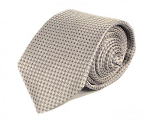 Silver Dotted Silk Tie by Focus Ties (The Carrera - Premium High Quality Silk Business / Wedding Necktie)