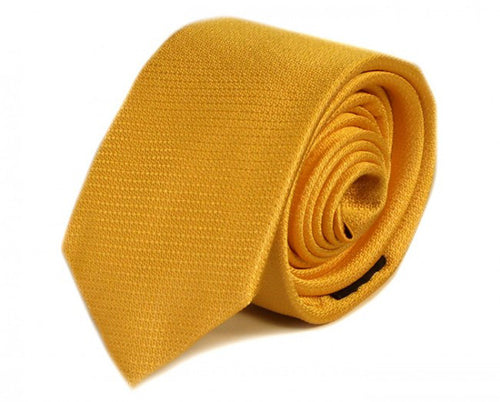 Yellow Solid Silk Tie by Focus Ties (The Atom - Premium High Quality Silk Business / Wedding Necktie)