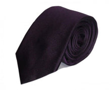 Load image into Gallery viewer, Purple Solid Silk Tie by Focus Ties (The Blackbird - Premium High Quality Silk Business / Wedding Necktie)