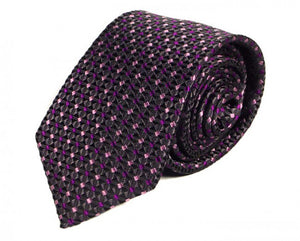 Black Dotted, Woven Silk Tie by Focus Ties (The Countach - Premium High Quality Silk Business / Wedding Necktie)