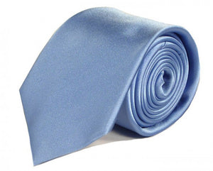 Blue Solid Silk Tie by Focus Ties (The Syracuse - Premium High Quality Silk Business / Wedding Necktie)