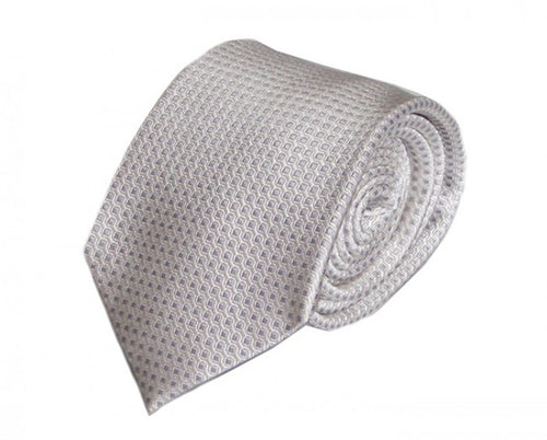 White Dotted Silk Tie by Focus Ties (The Mangusta - Premium High Quality Silk Business / Wedding Necktie)