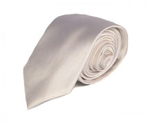 Load image into Gallery viewer, White Solid Silk Tie by Focus Ties (The Venom - Premium High Quality Silk Business / Wedding Necktie)