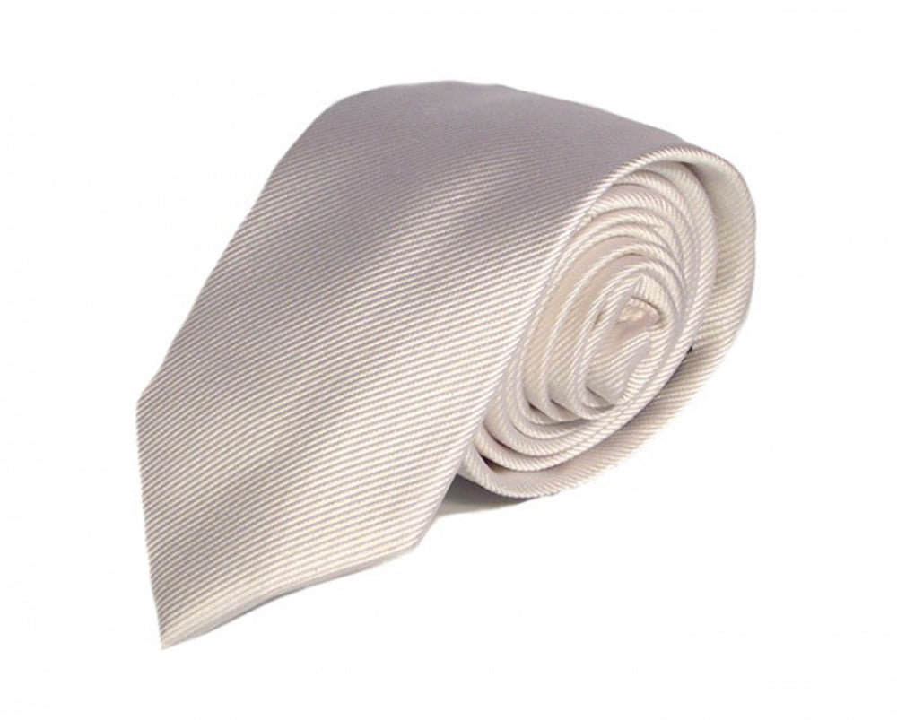 White Solid Silk Tie by Focus Ties (The Venom - Premium High Quality Silk Business / Wedding Necktie)