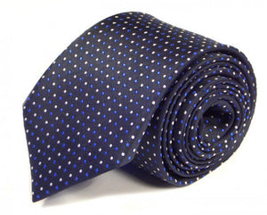 Blue Dotted Silk Tie by Focus Ties (The Maranello - Premium High Quality Silk Business / Wedding Necktie)