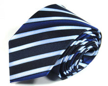 Load image into Gallery viewer, Blue Striped Silk Tie by Focus Ties (The Moncao - Premium High Quality Silk Business / Wedding Necktie)