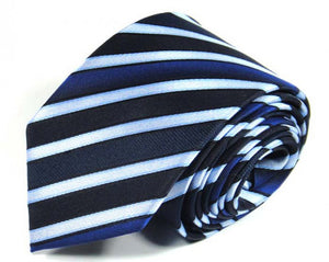 Blue Striped Silk Tie by Focus Ties (The Moncao - Premium High Quality Silk Business / Wedding Necktie)