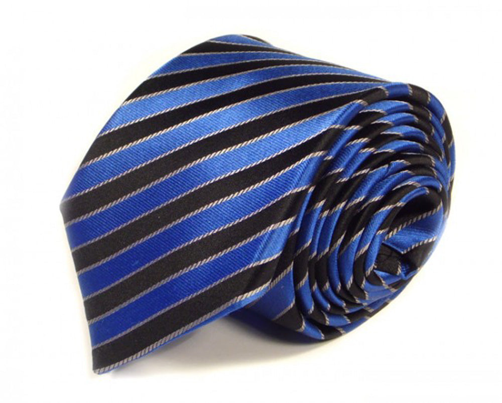 Black Striped Silk Tie by Focus Ties (The Griffith - Premium High Quality Silk Business / Wedding Necktie)