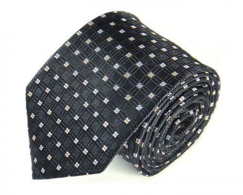 Black Dotted Silk Tie by Focus Ties (The Tambora - Premium High Quality Silk Business / Wedding Necktie)