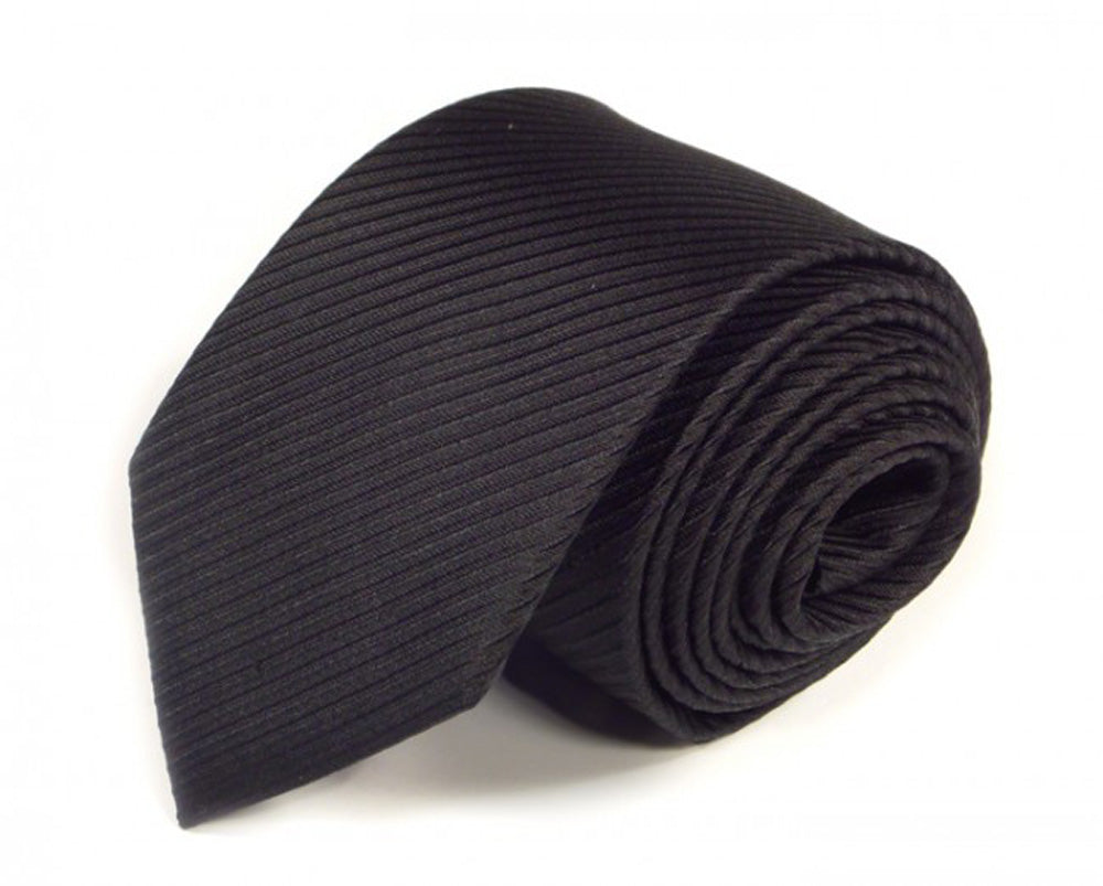 Black Striped, Woven Silk Tie by Focus Ties (The Elite - Premium High Quality Silk Business / Wedding Necktie)