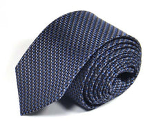 Load image into Gallery viewer, Blue Woven Silk Tie by Focus Ties (The Zambezi - Premium High Quality Silk Business / Wedding Necktie)