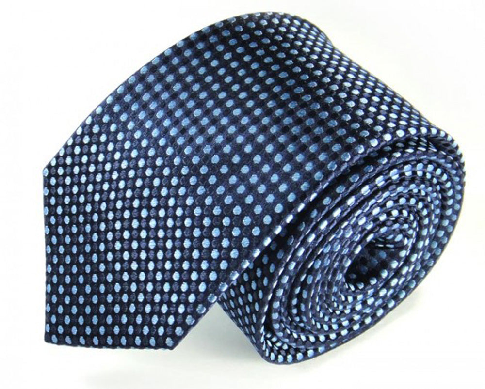 Blue Dotted Silk Tie by Focus Ties (The Eos - Premium High Quality Silk Business / Wedding Necktie)