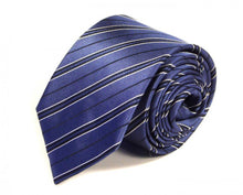 Load image into Gallery viewer, Blue Striped Silk Tie by Focus Ties (The Evora - Premium High Quality Silk Business / Wedding Necktie)