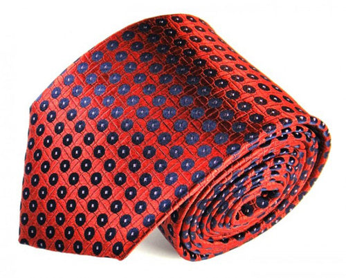 Red Dotted Silk Tie by Focus Ties (The Andaman - Premium High Quality Silk Business / Wedding Necktie)