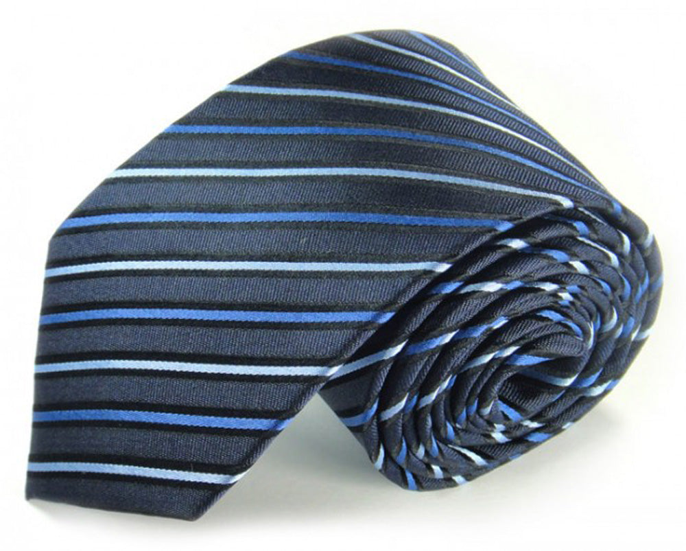 Blue Striped Silk Tie by Focus Ties (The Argun - Premium High Quality Silk Business / Wedding Necktie)