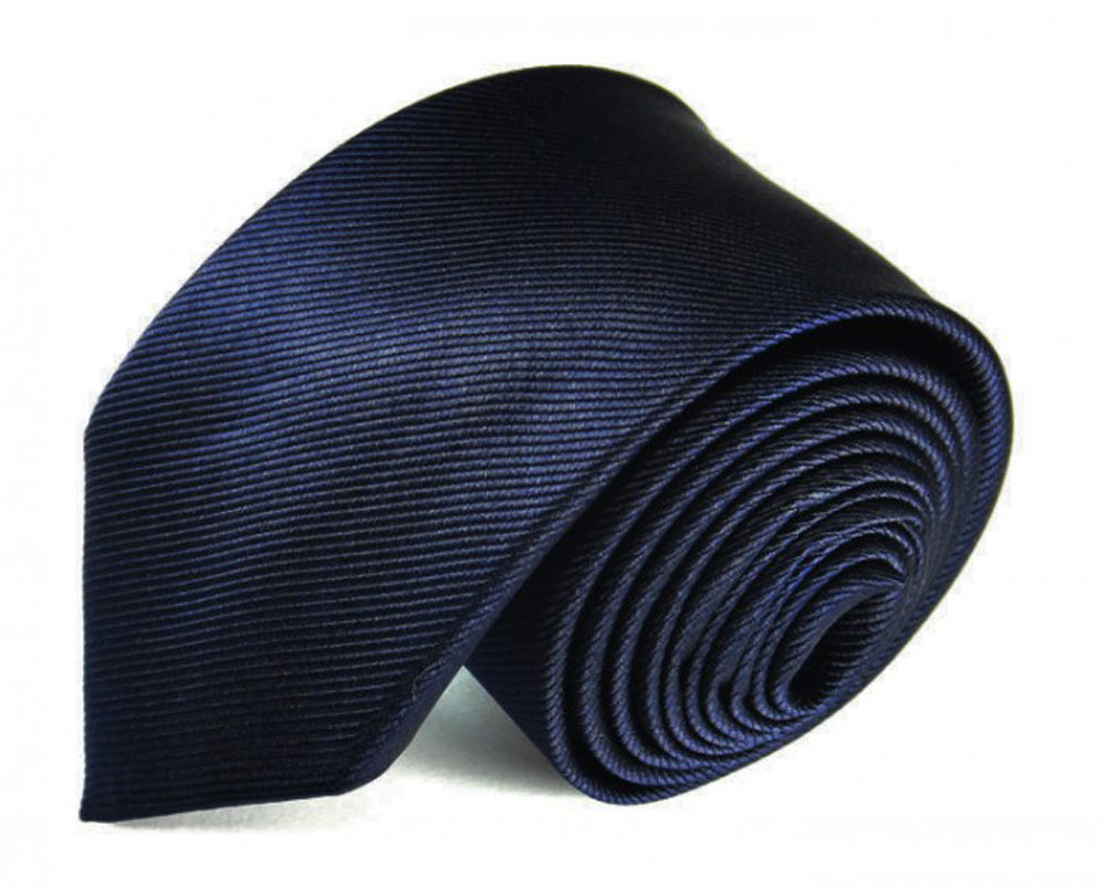 Blue Solid, Woven Silk Tie by Focus Ties (The Helios - Premium High Quality Silk Business / Wedding Necktie)