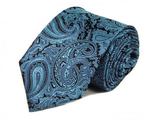 Blue Paisley Silk Tie by Focus Ties (The Sirius - Premium High Quality Silk Business / Wedding Necktie)