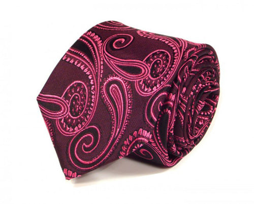 Pink Paisley Silk Tie by Focus Ties (The Fuji - Premium High Quality Silk Business / Wedding Necktie)
