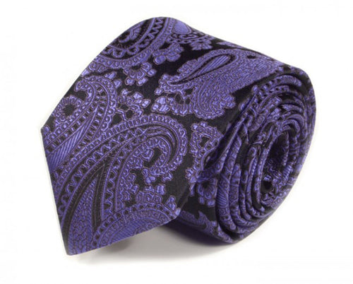 Purple Paisley Silk Tie by Focus Ties (The Apollo - Premium High Quality Silk Business / Wedding Necktie)