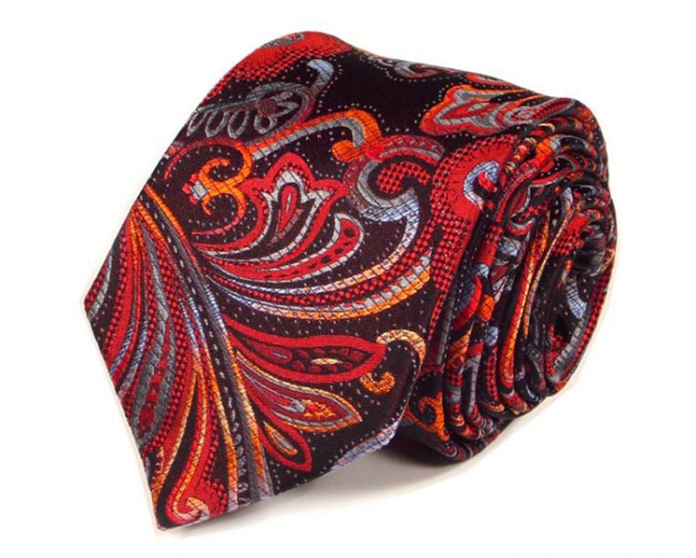 Orange Paisley Silk Tie by Focus Ties (The Columbia - Premium High Quality Silk Business / Wedding Necktie)