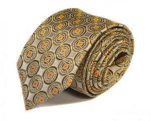 Gold Woven Silk Tie by Focus Ties (The Agera - Premium High Quality Silk Business / Wedding Necktie)