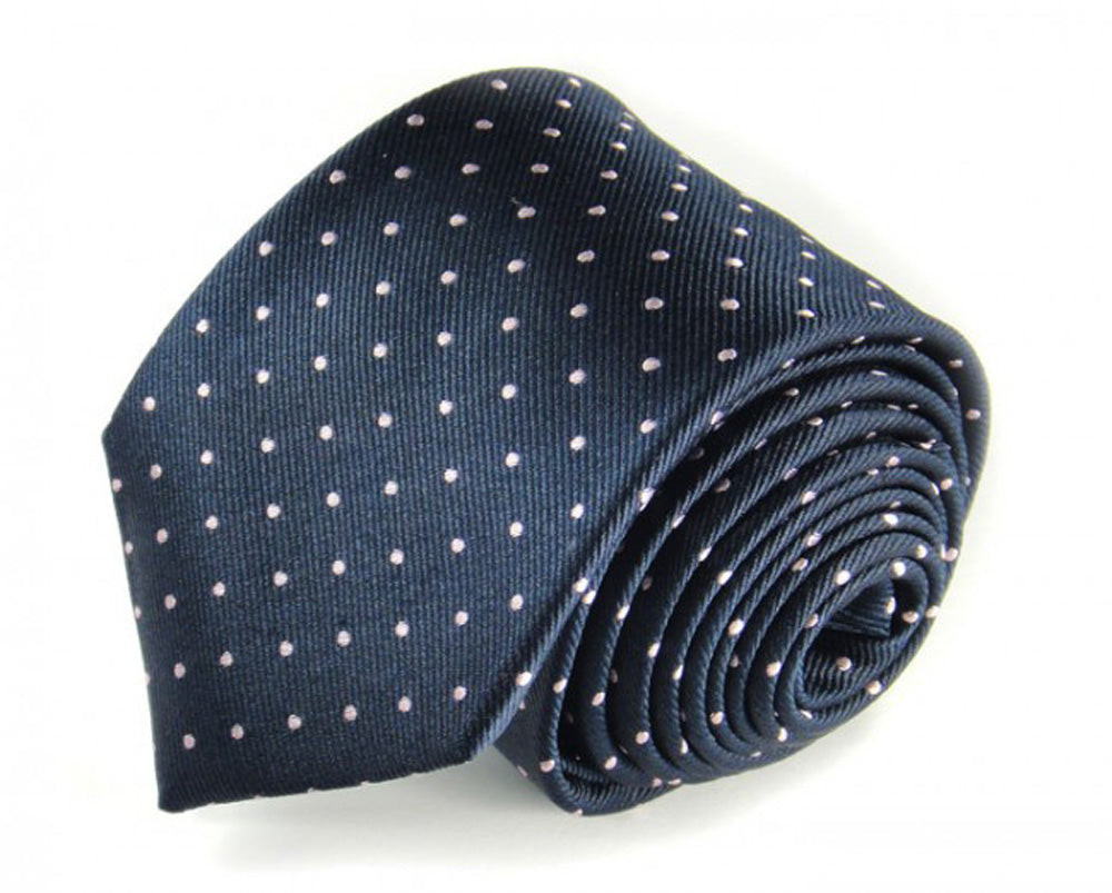 Blue Dotted Silk Tie by Focus Ties (The Clark - Premium High Quality Silk Business / Wedding Necktie)