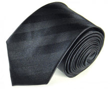 Load image into Gallery viewer, Black Striped, Woven Silk Tie by Focus Ties (The Bismarck - Premium High Quality Silk Business / Wedding Necktie)